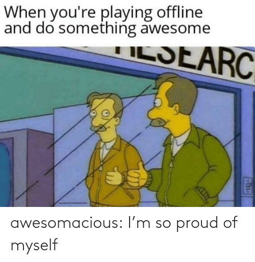 Tumblr, Blog, and Awesome: When you're playing offline  and do something awesome  ILSEARC awesomacious:  I'm so proud of myself