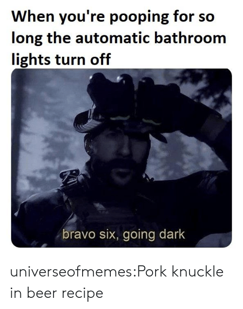 Beer, Tumblr, and Blog: When you're pooping for so  long the automatic bathroom  lights turn off  bravo six, going dark universeofmemes:Pork knuckle in beer recipe