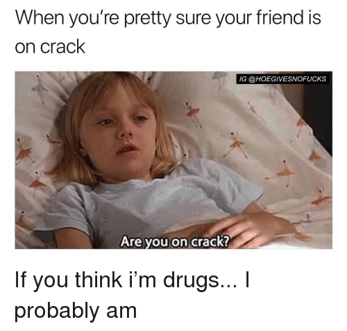 Are You On Crack: When you're pretty sure your friend is  on crack  IG @HOEGIVESNOFUCKS  Are you on crack? If you think i'm drugs... I probably am