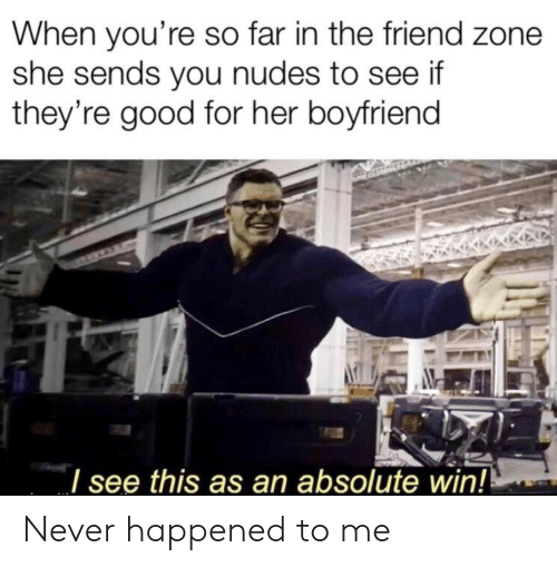 Nudes, Good, and Boyfriend: When you're so far in the friend zone  she sends you nudes to see if  they're good for her boyfriend  see this as an absolute win! Never happened to me