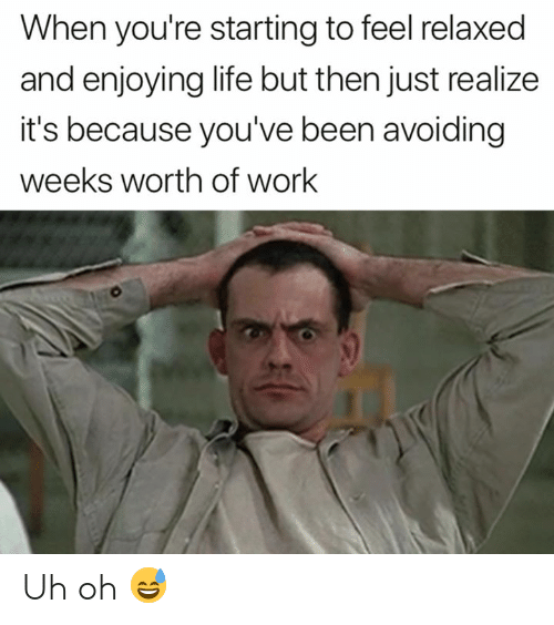 Life, Work, and Been: When you're starting to feel relaxed  and enjoying life but then just realize  it's because you've been avoiding  weeks worth of work Uh oh 😅