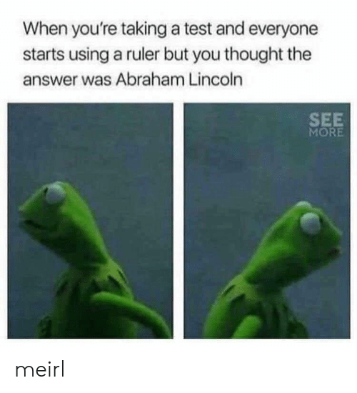 Abraham Lincoln, Abraham, and Lincoln: When you're taking a test and everyone  starts using a ruler but you thought the  answer was Abraham Lincoln  SEE  MORE meirl