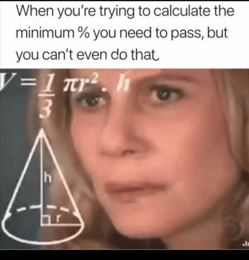 You, Youre, and  Cant Even: When you're trying to calculate the  minimum % you need to pass, but  you can't even do that  V=1 ar2. h  h