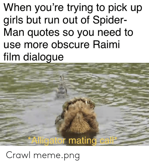 Meme Png: When you're trying to pick up  girls but run out of Spider-  Man quotes so you need to  use more obscure Raimi  film dialogue  Alligator mating.call Crawl meme.png
