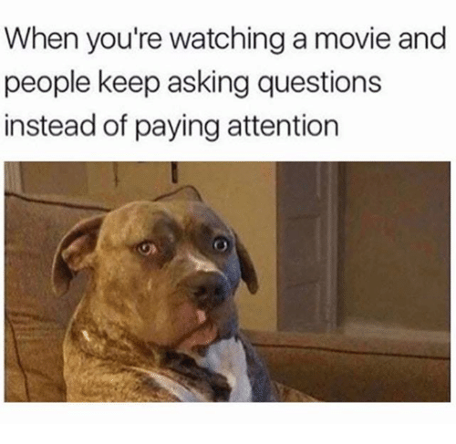 watching a movie: When you're watching a movie and  people keep asking questions  instead of paying attention
