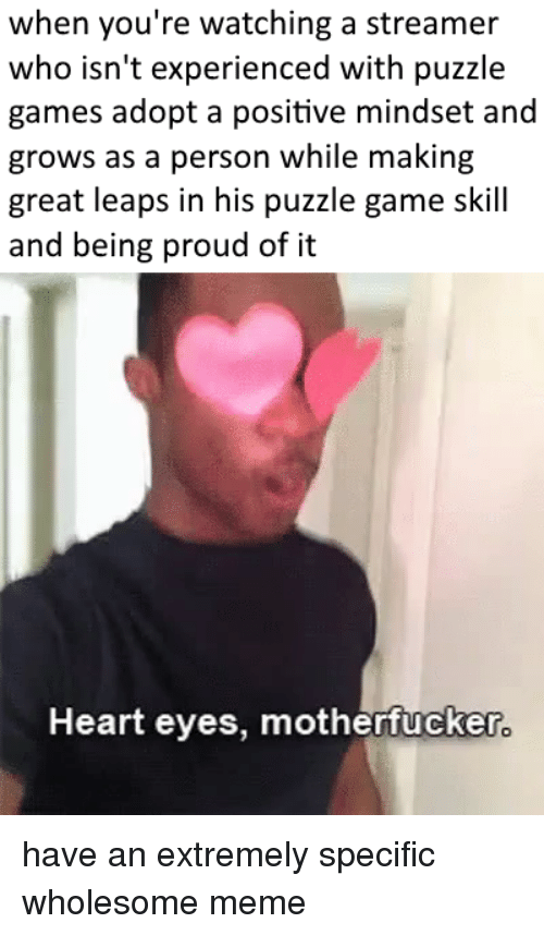 Meme, Game, and Games: when you're watching a streamer  who isn't experienced with puzzle  games adopt a positive mindset and  grows as a person while making  great leaps in his puzzle game skill  and being proud of it  Heart eyes, motherfucker have an extremely specific wholesome meme