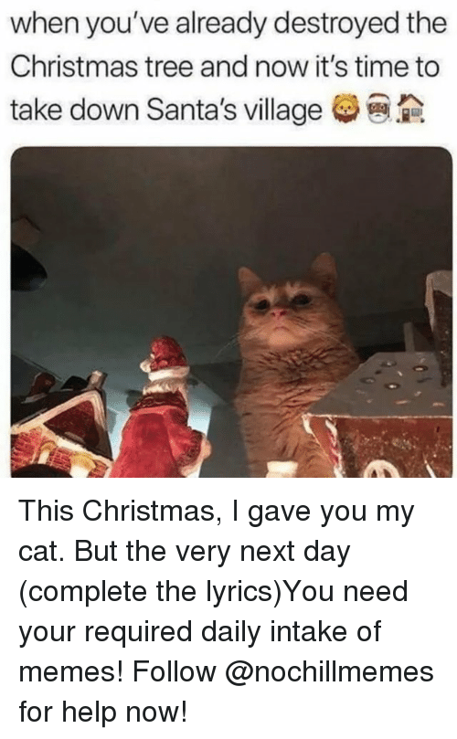 Christmas, Memes, and Christmas Tree: when you've already destroyed the  Christmas tree and now it's time to  take down Santa's village This Christmas, I gave you my cat. But the very next day (complete the lyrics)You need your required daily intake of memes! Follow @nochillmemes for help now!