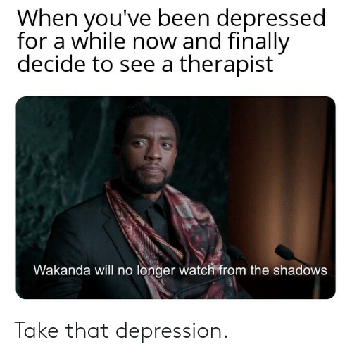 Shadows: When you've been depressed  for a while now and finally  decide to see a therapist  Wakanda will no longer watch from the shadows Take that depression.