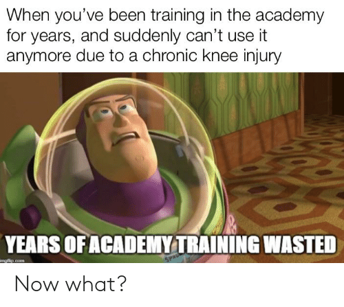 knee injury: When you've been training in the academy  for years, and suddenly can't use it  anymore due to a chronic knee injury  YEARS OF ACADEMY TRAINING WASTED  imgflip.com  SPRU Now what?