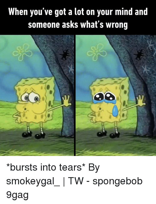 9gag, Memes, and SpongeBob: When you've got a lot on your mind and  someone asks what's wrong *bursts into tears*⠀ By smokeygal_ | TW⠀ -⠀ spongebob 9gag