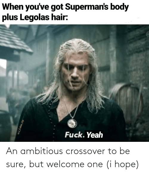 I Hope: When you've got Superman's body  plus Legolas hair:  Fuck. Yeah  u/J_Calen_Up An ambitious crossover to be sure, but welcome one (i hope)