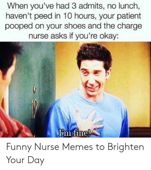 Funny Nurse: When you've had 3 admits, no lunch,  haven't peed in 10 hours, your patient  pooped on your shoes and the charge  nurse asks if you're okay:  rm Tine! Funny Nurse Memes to Brighten Your Day