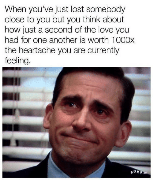 Love, Lost, and How: When you've just lost somebody  close to you but you think about  how just a second of the love you  had for one another is worth 100Ox  the heartache you are currently  feeling  SURF