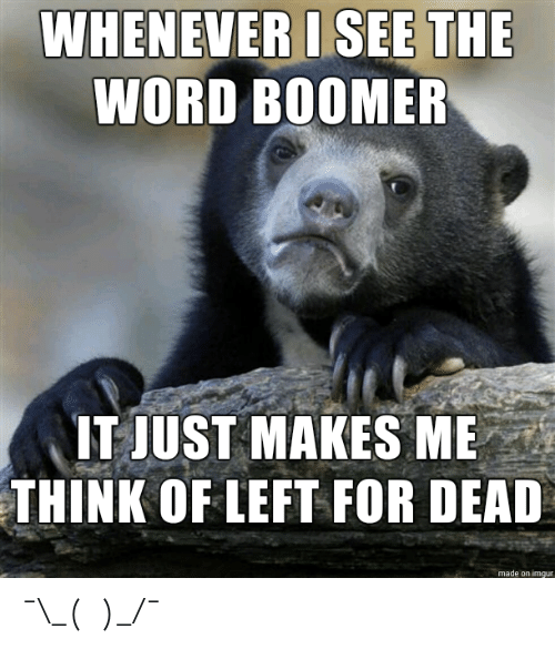 The Word: WHENEVER I SEE THE  WORD BOOMER  IT JUST MAKES ME  THINK OF LEFT FOR DEAD  made on imgur ¯\_(ツ)_/¯