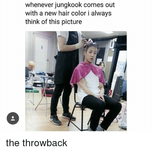 hair color: whenever jungkook comes out  with a new hair color i alway:s  think of this picture the throwback