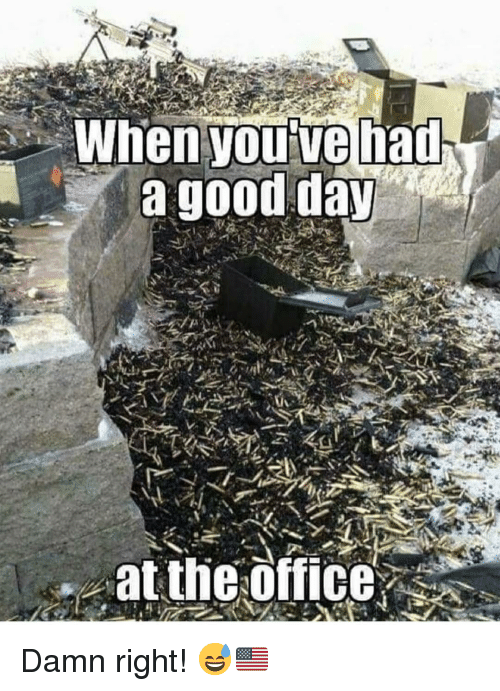 Memes, Good, and 🤖: Whenyouive had  a good day  .at the offices Damn right! 😅🇺🇸