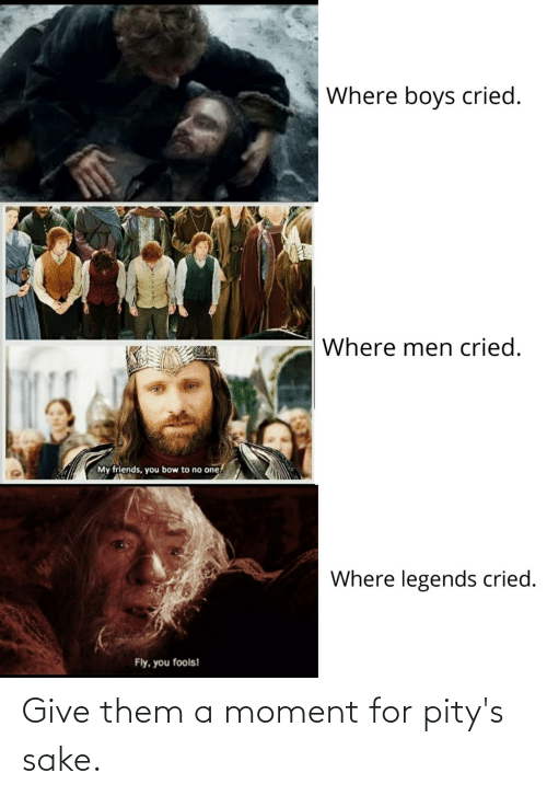 my friends you bow to no one: Where boys cried.  Where men cried.  My friends, you bow to no one.  Where legends cried.  Fly, you fools! Give them a moment for pity's sake.