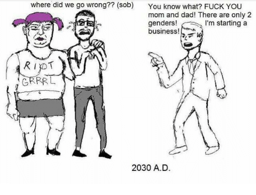 There Are Only 2 Genders: where did we go wrong?? (sob)  You know what? FUCK YOU  mom and dad! There are only 2  genders!  m starting a  business!  RIYOT  GRRR L  2030 A.D.