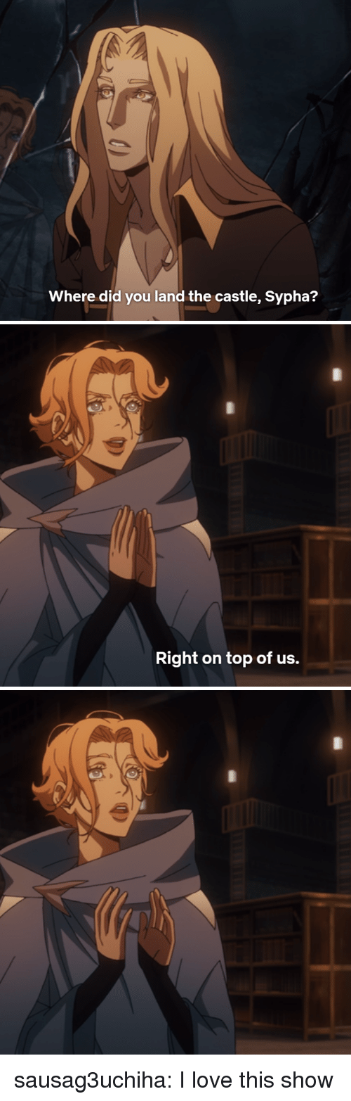 Love, Tumblr, and Blog: Where did you land the castle, Sypha?   Right on top of us. sausag3uchiha:  I love this show