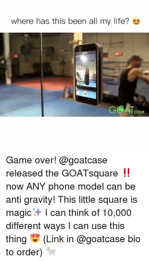 anti-gravity: where has this been all my life?  Case Game over! @goatcase released the GOATsquare ‼️ now ANY phone model can be anti gravity! This little square is magic✨ I can think of 10,000 different ways I can use this thing 😍 (Link in @goatcase bio to order) 🐐