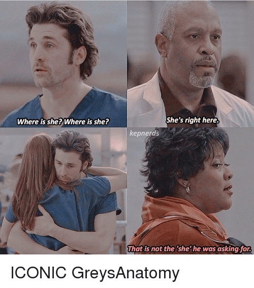 Where Is She: Where is she? Where is she?  She's right here.  kepnerds  That is not the she he was asking for. ICONIC GreysAnatomy