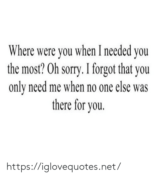 Forgot: Where were you when I needed you  the most? Oh sorry. I forgot that you  only need me when no one else was  there for you. https://iglovequotes.net/