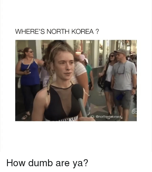 Dumb, North Korea, and How: WHERE'S NORTH KOREA?  : @northerpeomedy How dumb are ya?