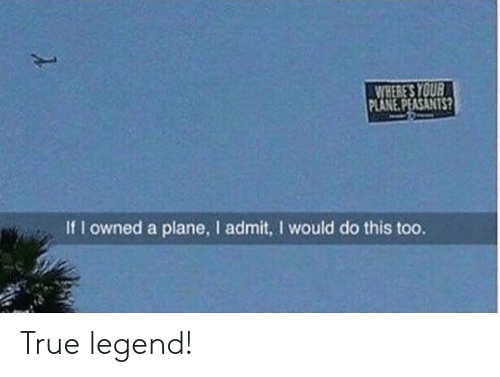 plane: WHERE'S YOUR  PLANE.PEASANTS?  If I owned a plane, I admit, I would do this too. True legend!