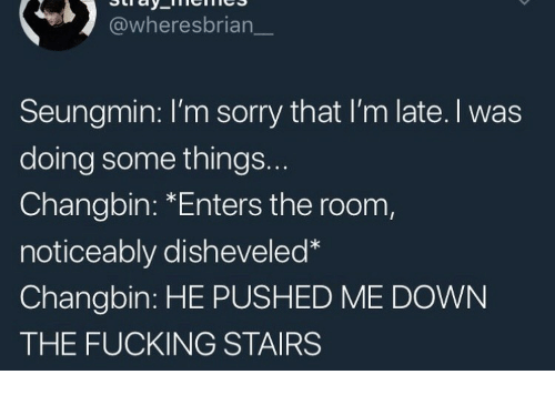 Noticeably: @wheresbrian  Seungmin: I'm sorry that I'm late. I was  doing some things..  Changbin: *Enters the room,  noticeably disheveled  Changbin: HE PUSHED ME DOWN  THE FUCKING STAIRS