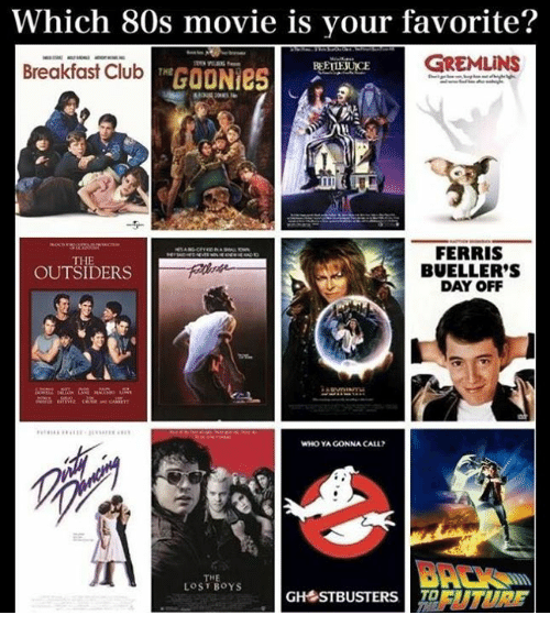 Breakfast Club: Which 80s movie is your favorite?  Breakfast ClhutGOON  GREMLINS  BEETTEJUICE  Breakfast Club  3  FERRIS  BUELLER'S  DAY OFF  THE  OUTSIDERS  WHO YA GONNA CALL?  THE  LOST BOYS  GH STBUSTERS EUTURF