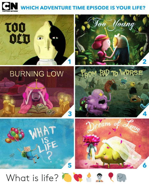 Adventure Time: WHICH ADVENTURE TIME EPISODE IS YOUR LIFE?  CARTOON NETWORK  TO0  0CT  Jon Yodng  1  2  BURNING LOW  ROM BAD TO WORSE  3  4  Dreem of oun  WHAT  1S  LIFE  ?  6 What is life? 🍋💘🕯🧟♂️🎈🐘