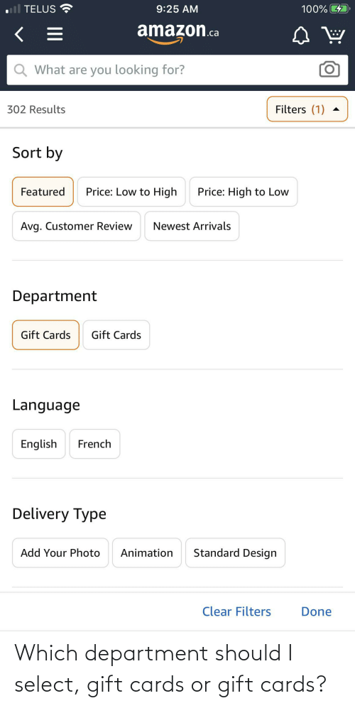 department: Which department should I select, gift cards or gift cards?