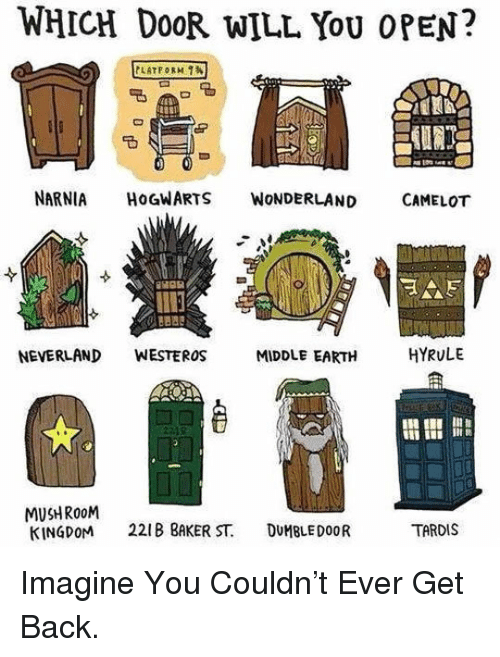 middle earth: WHICH Do0R WILL YoU OPEN?  NARNIA HOGWARTS WoNDERLAND CAMELOT  NEVERLAND WESTEROS  MIDDLE EARTH  HYRULE  I i  MUSHRo0M  KINGDOM 221 BAKER ST. DUMBLEDOOR  TARDIS <p>Imagine You Couldn't Ever Get Back.</p>
