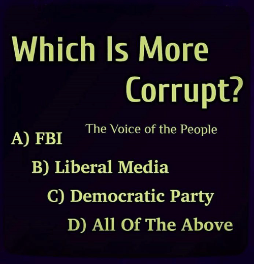 Fbi, Memes, and Party: Which Is More  Corrupt?  The Voice of the People  A) FBI  B) Liberal Media  C) Democratic Party  D) All Of The Above