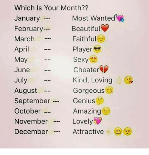 """Sexyness: Which Is Your Month??  January  February  March  April  May  June  July  August  September .  October …  November  December  Most Wanted  Beautiful  Faithful  Player  Sexy  Cheater  Kind, Loving  Gorgeous  Genius  Amazing  Lovely  Attractive .  (  """"…"""