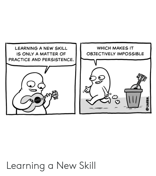 skill: WHICH MAKES IT  LEARNING A NEW SKILL  OBJECTIVELY IMPOSSIBLE  IS ONLY A MATTER OF  PRACTICE AND PERSISTENCE  @UARRR Learning a New Skill
