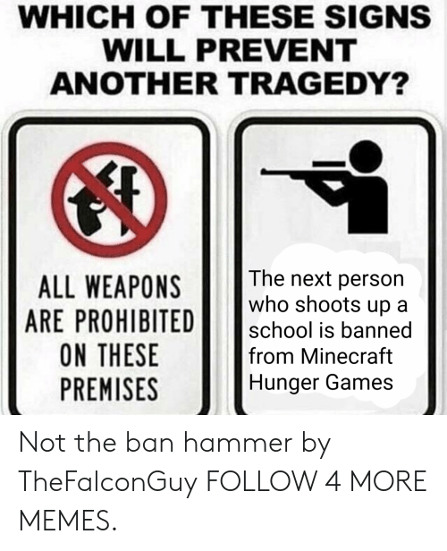 Prohibited: WHICH OF THESE SIGNS  WILL PREVENT  ANOTHER TRAGEDY?  The next person  who shoots up  ALL WEAPONS  ARE PROHIBITED  ON THESE  PREMISES  school is banned  from Minecraft  Hunger Games Not the ban hammer by TheFalconGuy FOLLOW 4 MORE MEMES.