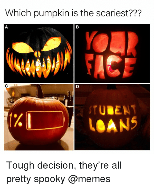 Memes, Loans, and Pumpkin: Which pumpkin is the scariest???  1%  TUBEN  LOANS Tough decision, they're all pretty spooky @memes