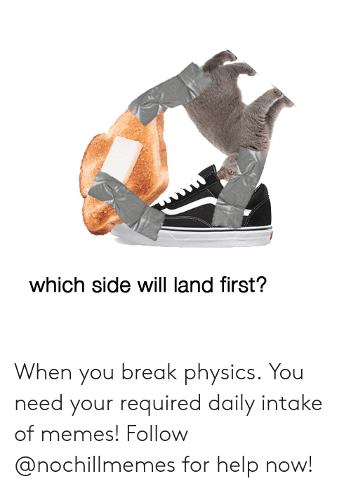 Memes, Break, and Help: which side will land first? When you break physics. You need your required daily intake of memes! Follow @nochillmemes for help now!