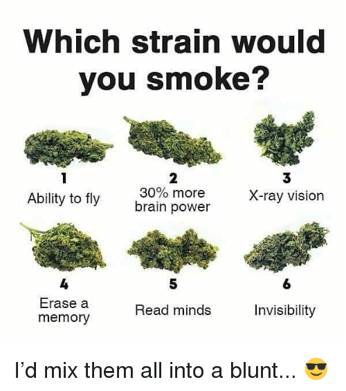 Weed, Vision, and Brain: Which strain would  you smoke?  3  X-ray vision  2  Ability to fly  30% more  brain power  5  6  4  Erase a  memory  Read minds  Invisibility I'd mix them all into a blunt... 😎