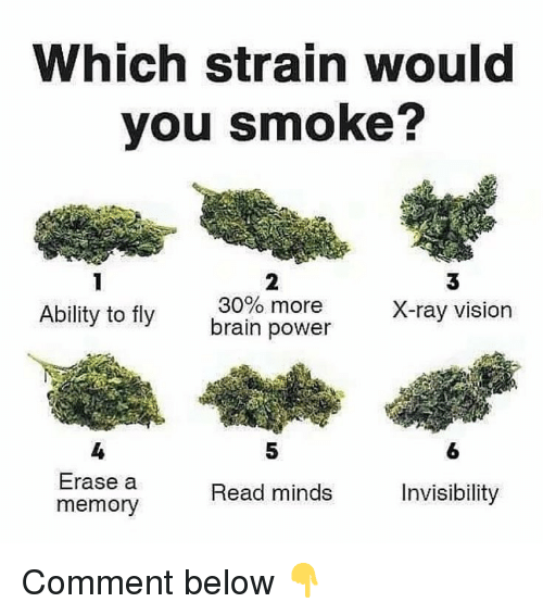 Weed, Vision, and Marijuana: Which strain would  you smoke?  Ability to fly ain power  2  30% more  3  X-ray vision  4  Erase a  memory  5  6  Read minds  Invisibility Comment below 👇