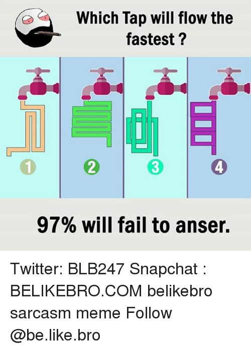 Be Like, Fail, and Meme: Which Tap will flow the  fastest?  2  3  4  97% will fail to anser. Twitter: BLB247 Snapchat : BELIKEBRO.COM belikebro sarcasm meme Follow @be.like.bro