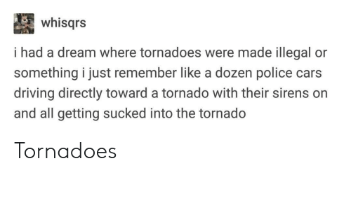 tornadoes: whisqrs  i had a dream where tornadoes were made illegal or  something i just remember like a dozen police cars  driving directly toward a tornado with their sirens on  and all getting sucked into the tornado Tornadoes