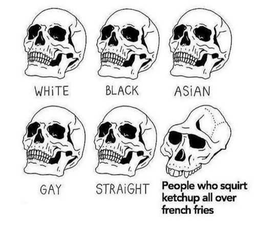 Asian, Memes, and Squirt: WHiTE  BLACK  ASiAN  People who squirt  ketchup all over  french fries  STRAIGHT