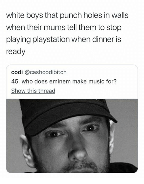 Eminem, Music, and PlayStation: white boys that punch holes in walls  when their mums tell them to stop  playing playstation when dinner is  ready  codi @cashcodibitch  45. who does eminem make music for?  Show this thread