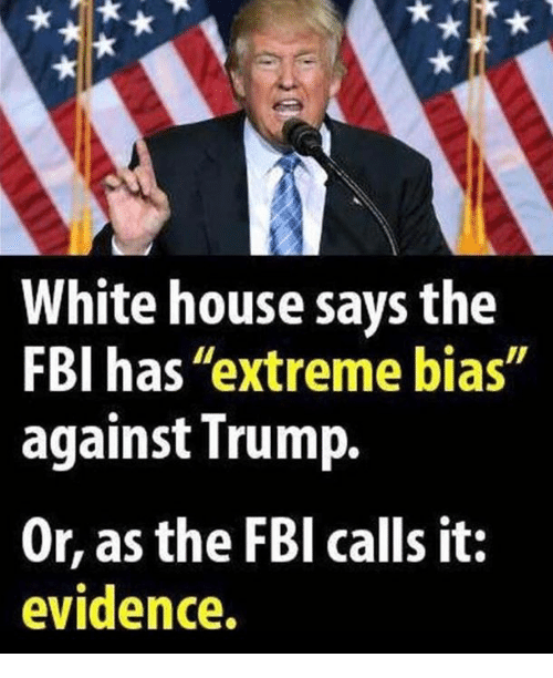 """Fbi, White House, and House: White house says the  FBI has """"extreme bias""""  against Trump.  Or, as the FBl calls it:  evidence."""