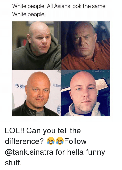 Hella Funny: White people: All Asians look the same  White people:  @tank.sinatra  : Bla  Blac LOL!! Can you tell the difference? 😂😂Follow @tank.sinatra for hella funny stuff.