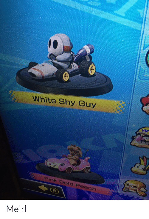 Pink: White Shy Guy  Pink Gold Peach Meirl