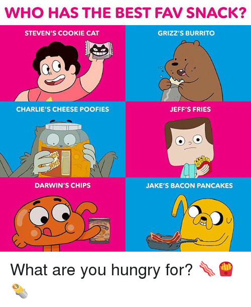 Hungry, Memes, and Best: WHO HAS THE BEST FAV SNACK?  STEVEN'S COOKIE CAT  GRIZZ'S BURRITO  CHARLIE'S CHEESE POOFIES  JEFF'S FRIES  DARWIN'S CHIPS  JAKE'S BACON PANCAKES What are you hungry for? 🥓🍟🌯