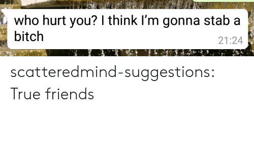 Bitch, Friends, and True: who hurt you? I think I'm gonna stab a  bitch  21:24 scatteredmind-suggestions:  True friends